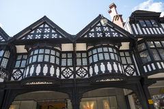 The Rows are Tudor Black and White Buildings in Chester the county city of Cheshire in England Royalty Free Stock Photography
