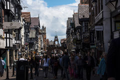 The Rows are Tudor Black and White Buildings in Chester the county city of Cheshire in England Stock Photos