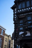The Rows are Tudor Black and White Buildings in Chester the county city of Cheshire in England. Much of the architecture of central Chester looks medieval and stock photo