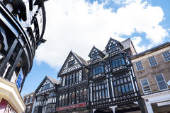 The Rows are Tudor Black and White Buildings in Chester the county city of Cheshire in England. Much of the architecture of central Chester looks medieval and royalty free stock image