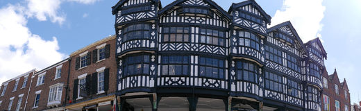 The Rows are Tudor Black and White Buildings in Chester England royalty free stock photos