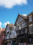 The Rows are Tudor Black and White Buildings in Chester England stock photos