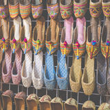Rows of typically oriental shoes at the market in Dubai Stock Photography