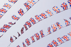 Rows of UK Union Flag Bunting Stock Photos