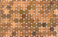 Rows of used pennies Royalty Free Stock Photos