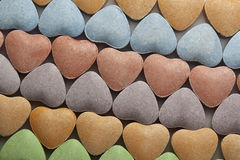 Rows of Valentine's Day candy hearts Stock Images