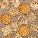Rows of various shortbread and oat cookies. stock image