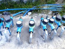 Rows of water meter Stock Photo