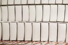 Rows of white blank boxes. Stock Photo