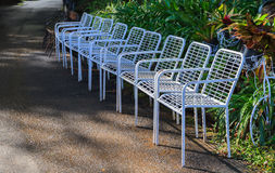 Rows of white chairs Royalty Free Stock Photography