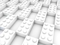 Rows of white toy bricks with empty spaces.3d illustration Royalty Free Stock Image