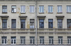 The rows of Windows of the old town house. Royalty Free Stock Photos