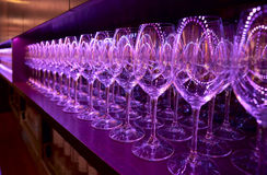 Rows of wineglasses Royalty Free Stock Photos