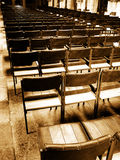 Rows of wooden chair seating Royalty Free Stock Photography