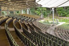 Rows of wooden emty seats. In arena theater in Sopot, Poland royalty free stock images