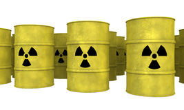 Rows of yellow nuclear waste barrel Royalty Free Stock Photo