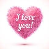 Różowy puszysty serce z kocham ciebie szyldowego Obraz Royalty Free