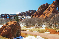 Roxborough Trailhead with Snow Stock Images