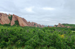 Roxborough Valley Woodland and Rock Forms. Valley woodland and red sandstone rock formations at roxborough state park Stock Photo