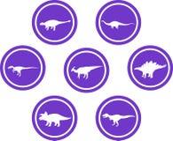 Roxo ajustado do emblema redondo do dinossauro Imagem de Stock Royalty Free