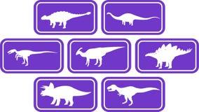 Roxo ajustado do emblema retangular do dinossauro Imagens de Stock