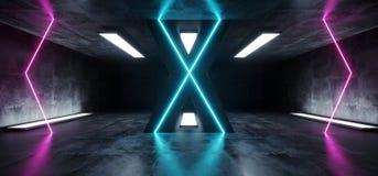 Roxo azul de incandescência vazio concreto de Hall Corridor Fluorescent Luxurious Luminous do Grunge reflexivo futurista estrange ilustração stock