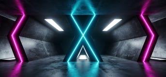 Roxo azul de incandescência vazio concreto de Hall Corridor Fluorescent Luxurious Luminous do Grunge reflexivo futurista estrange ilustração do vetor