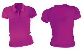 Roxo Polo Shirts Template das mulheres Imagens de Stock