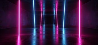 Roxo vertical retro futurista luminoso luxuoso fluorescente de incandescência de néon das luzes de Sci Fi do ultravioleta cósmico ilustração do vetor