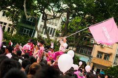 Roy Goh waving Pinkdot Flag Stock Image