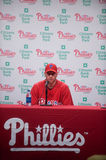 Roy Halliday. Philadelphia Phillies starting pitcher Roy Halliday meets the press in 2010 at Philadelphia Stock Photo