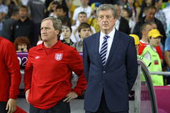Roy Hodgson - England football team head coach. KYIV, UKRAINE - JUNE 15, 2012: Head coach of England national football team Roy Hodgson (R) and his assistant Ray Royalty Free Stock Photography