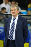 Roy Hodgson, manager of England National football team. KYIV, UKRAINE - SEPTEMBER 10, 2013: England National football team manager Roy Hodgson looks on during Stock Photos