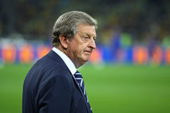 Roy Hodgson, manager of England National football team. KYIV, UKRAINE - SEPTEMBER 10, 2013: England National football team manager Roy Hodgson looks on during Royalty Free Stock Images