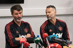 Roy Keane, Ryan Giggs przy dopasowanie konferencją prasową przy Pairc Ui Chaoimh i Liam Miller uznania dopasowanie, obrazy royalty free