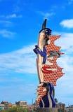 Roy Lichtenstein Head-beeldhouwwerk in Barcelona, Spanje Stock Afbeeldingen