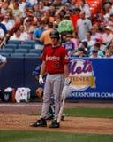 Roy Oswalt looks at the third base coach. Stock Photos