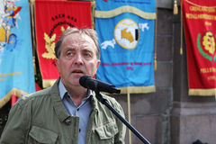 Roy Pedersen. Leader of Norwegian Confederation of Trade Unions in Oslo (LO i Oslo), speaking at a rally against The EU Temporary and Agency Workers Directive Royalty Free Stock Image