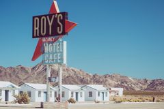 Roy`s Café and motel in Amboy, California, United states, alongside classic Route 66. Example of googie architecture royalty free stock image