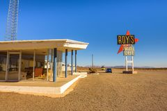 Roy`s motel and cafe  on historic Route 66. Amboy, California, USA - December 27, 2017 : Roy`s motel and cafe with vintage neon sign on historic Route 66 in the Royalty Free Stock Images