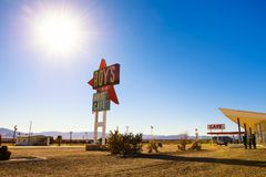 Roy`s motel and cafe  on historic Route 66. Amboy, California, USA - December 27, 2017 : Roy`s motel and cafe with vintage neon sign on historic Route 66 in the Royalty Free Stock Photo