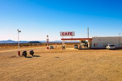 Roy`s motel and cafe  on historic Route 66. Amboy, California, USA - December 27, 2017 : Roy`s motel and cafe with vintage neon sign on historic Route 66 in the Stock Image