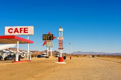Roy`s motel and cafe  on historic Route 66. Amboy, California, USA - December 27, 2017 : Roy`s motel and cafe with vintage neon sign on historic Route 66 in the Stock Photography
