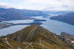 Roy`s Peak hike, Wanaka Lake, New Zealand stock images
