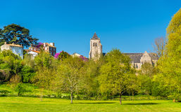 The Royal Abbey Notre-Dame of Celles-sur-Belle in France Stock Photo