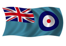 Royal Air Force Ensign. Royal Air Force - RAF - Ensign fluttering gently in the breeze. UK Military Royalty Free Stock Images