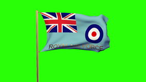 Royal Air Force flag with title waving in the wind stock video