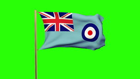 Royal Air Force flag waving in the wind. Green. Screen, alpha matte. Loops animation stock footage