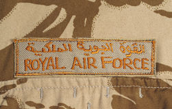 Royal AIr Force Patch on Desert Camouflage Jacket Royalty Free Stock Photography
