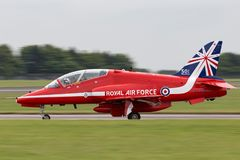 Royal Air Force RAF British Aerospace Hawk T 1A XX278 del gruppo acrobatici dell'esposizione di Royal Air Force le frecce rosse Fotografie Stock Libere da Diritti